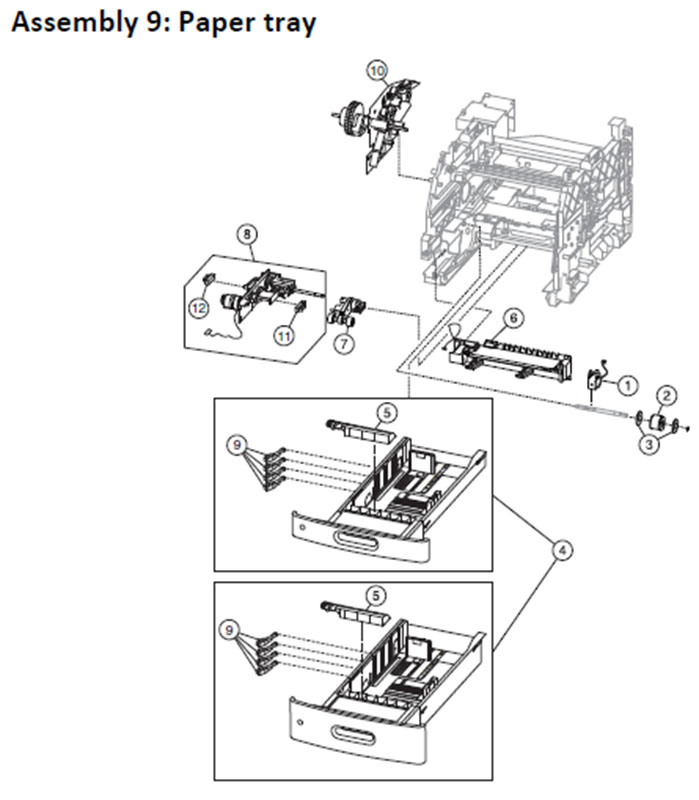 Lexmark MS810 Assembly 9: Paper Tray
